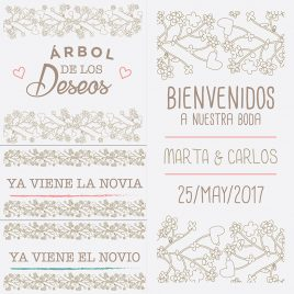 Carteles floreados lineales
