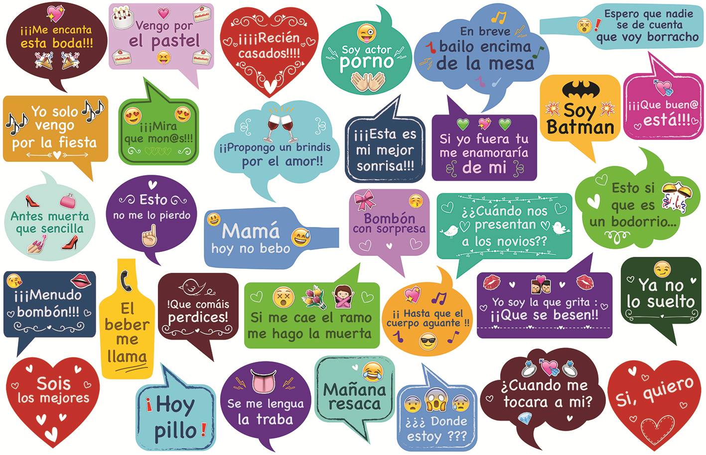 Atrezzo Bocadillos Emoji 2 Letras Xxl